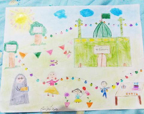 ترسیم نقاشی های زیبا درخانه با موضوع امام زمان(عج الله)